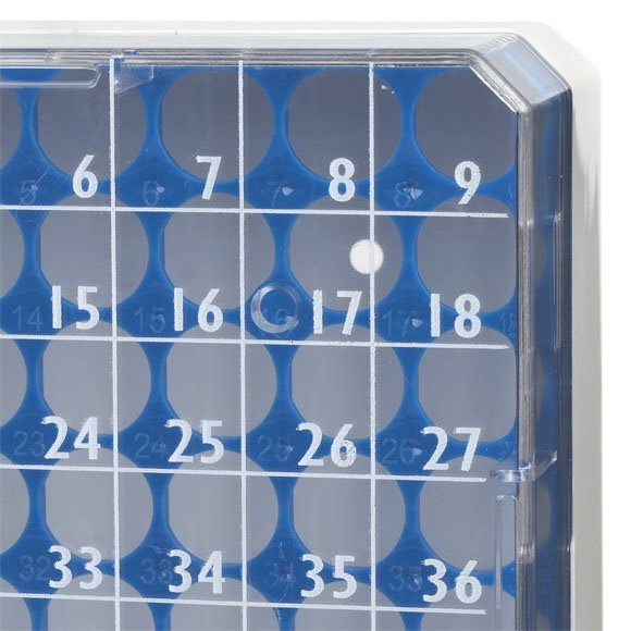 Holds 81 Vials Green Globe Scientific BioBox 3040G Polycarbonate Storage Box with Transparent Lid for 1mL and 2mL Tubes Pack of 5