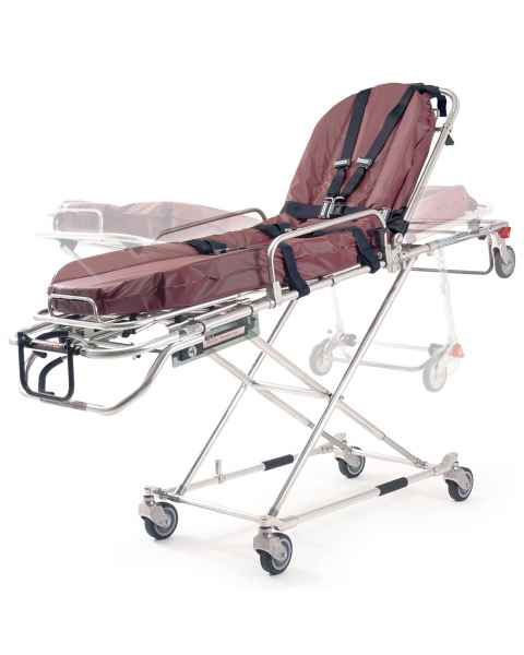 Ferno Model 35-A Mobile Transporter X-Frame Ambulance Cot with Burgundy 460 Mattress and Black Restraints