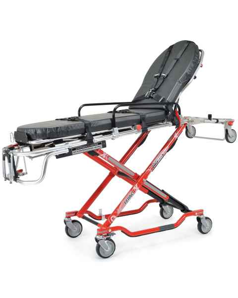 Ferno Model 35-X PROFlexX X-Frame Ambulance Cot - Rotate Down Side Arms, Mattress and Restraints