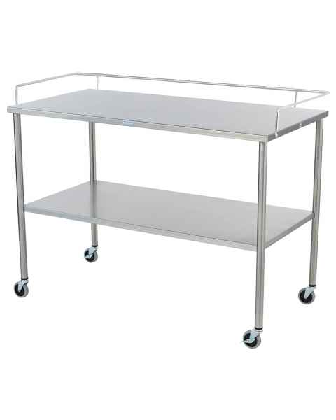Blickman Stainless Steel Howard Instrument Table with Shelf and 3-Sided Guardrail