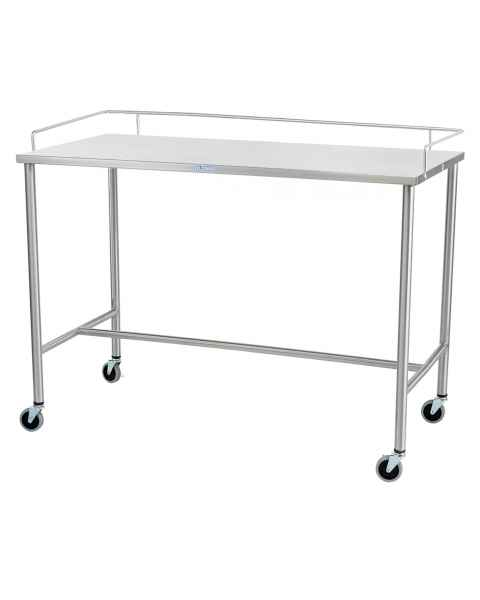 Blickman Model 3026SSH Stainless Steel Sawyer Instrument Table with H-Brace and 3 Sided Guardrail