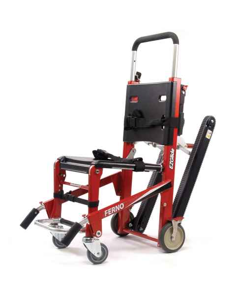 Ferno Model 59-T EZ-Glide Evacuation Stair Chair with IV Pole, Locking Handles and ABS Panels - Rescue Red