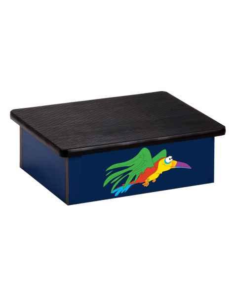Clinton Pediatric Laminate Step Stool - Rainforest Parrot Graphic on Blue