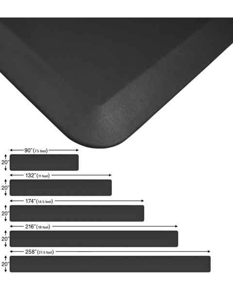 """NewLife Eco-Pro Continuous Comfort Anti-Fatigue Floor Mats - 20"""" Wide - Black"""