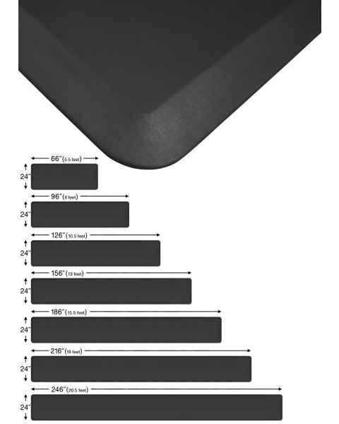 """NewLife Eco-Pro Continuous Comfort Anti-Fatigue Floor Mats 24"""" Wide Black"""