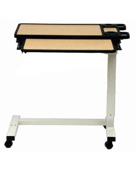 Novum Medical 120ES Acute Care Overbed Table Split Top without Vanity - Pneumatic Lift Mechanism