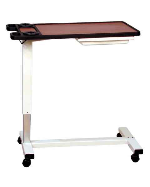 Novum Medical 120EV Acute Care Overbed Table Dual Cup Holders with Vanity - Pneumatic Lift Mechanism