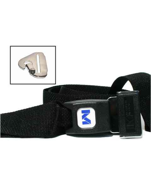 2-Piece Polypropylene Strap with Metal Push Button Buckle & Metal Non-Swivel Speed Clip Ends