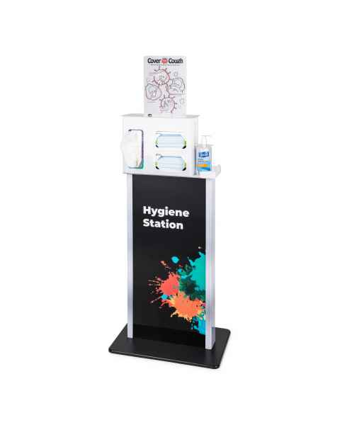 FlexiStore Dispenser Kiosk (Splash Color) with Locking Cover Your Cough Respiratory Hygiene Station (White Color)