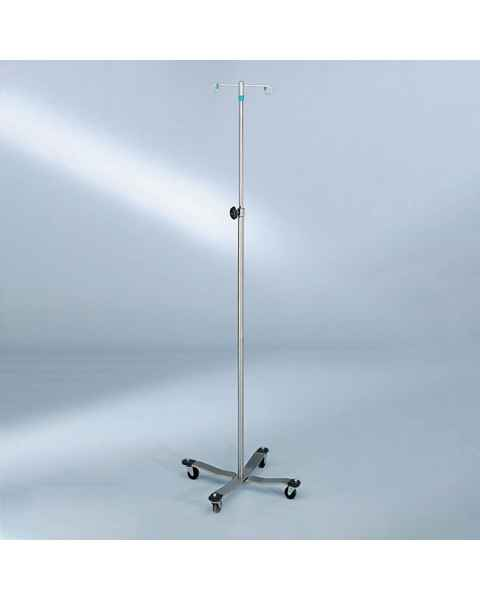 Blickman Model 1410 Stainless Steel IV Stand with 4-Leg, Tru-Loc Friction Knob, & 2-Hook