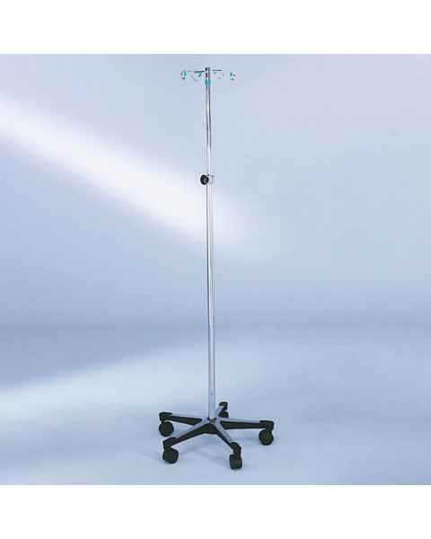 Blickman Model 1415 Stainless Steel IV Stand with 5-Leg, Tru-Loc Friction Knob, & 4-Hook