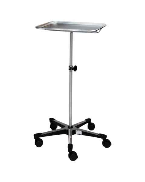 Blickman 5-Leg Chrome Instrument Stand with Stainless Steel Tray