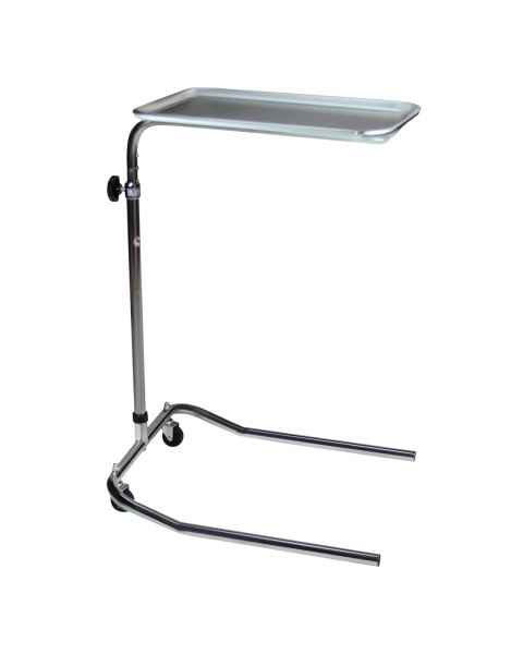 Blickman Chrome Single-Post Mayo Stand with Stainless Steel Tray