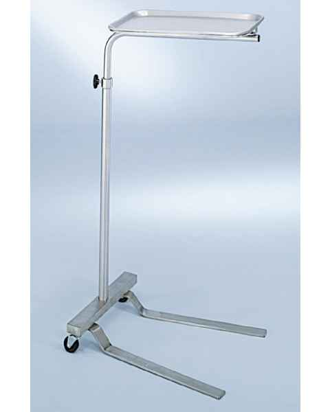 """Stainless Mayo Stand with Tru-Loc Friction Knob - Height Adjustment 37.25"""" - 64"""""""