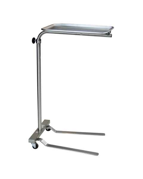 "Stainless Mayo Stand with Tru-Loc Friction Knob - Height Adjustment 37.25"" - 64"""