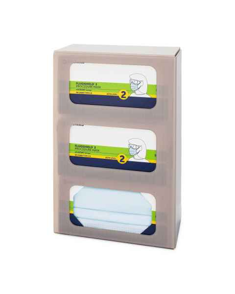 FlexiStore Enclosed Flex Fill Earloop Face Mask Dispenser - 3 Boxes - Sand