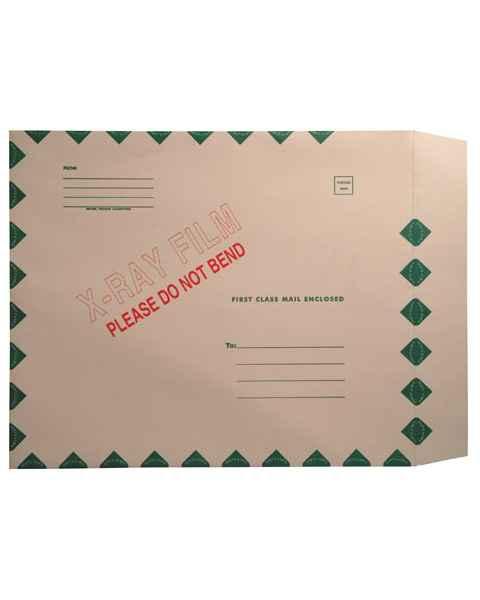 "15"" x 18"" Open End X-Ray Film Mailer - Manila Peel & Seel - Green Diamond Border"
