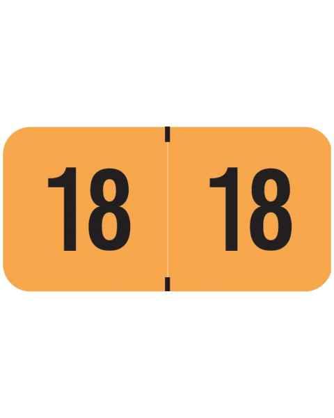 Arden Label 18-FOYM-T4 PMA Fluorescent Match Orange 2018 Year Labels