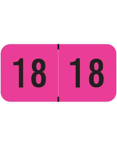 "2018 Year Labels - PMA Fluorescent Pink - Size 3/4"" H x 1 1/2"" W"