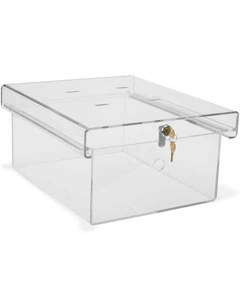 X-Large Clear Acrylic Refrigerator Lock Box with Key Lock