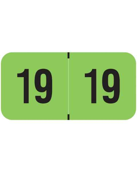 "2019 Year Labels - PMA Fluorescent Green - Size 3/4"" H x 1 1/2"" W"