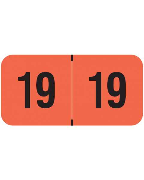 """2019 Year Labels - PMA Fluorescent Red - Size 3/4"""" H x 1 1/2"""" W"""