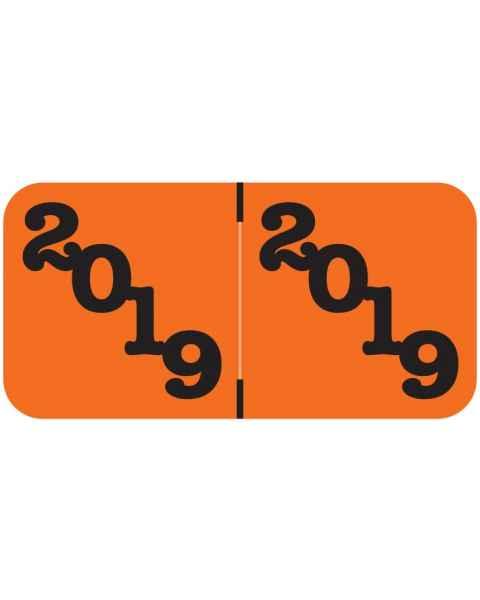 "2019 Year Labels - Jeter Compatible - Size 3/4"" H x 1 1/2"" W - Orange Label"