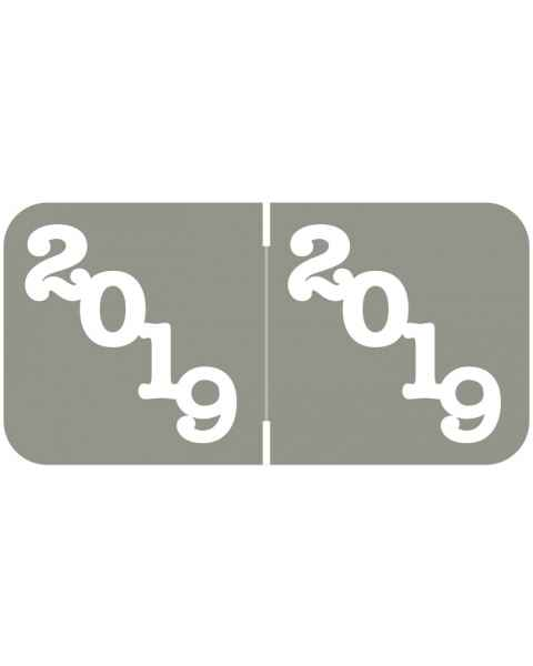 "2019 Year Labels - Jeter Compatible - Size 3/4"" H x 1 1/2"" W - Grey Label"