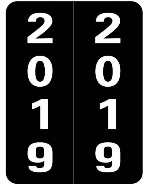 "2019 Year Labels - Smead Compatible - Size 2"" H x 1 1/2"" W"