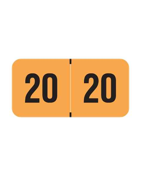 "2020 FOYM Year Labels - PMA Fluorescent Orange - Size 3/4"" H x 1 1/2"" W"