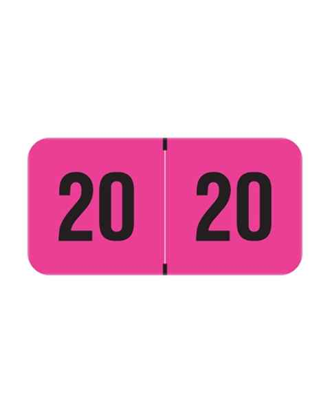 "2020 FPYM Year Labels - PMA Fluorescent Pink - Size 3/4"" H x 1 1/2"" W"