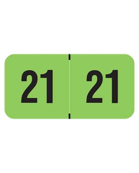 "2021 Year Labels - PMA Fluorescent Green - Size 3/4"" H x 1 1/2"" W"