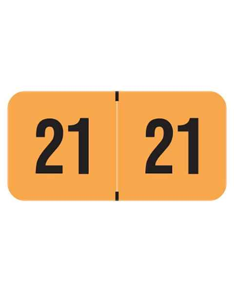 "2021 Year Labels - PMA Fluorescent Orange - Size 3/4"" H x 1 1/2"" W"