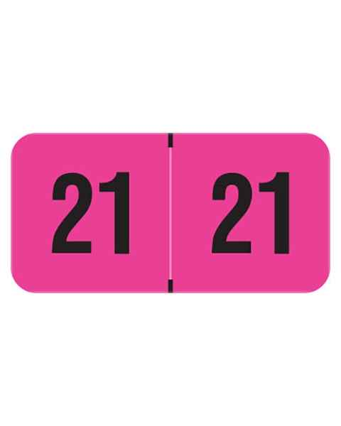 "2021 Year Labels - PMA Fluorescent Pink - Size 3/4"" H x 1 1/2"" W"