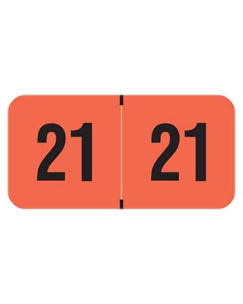 """2021 Year Labels - PMA Fluorescent Red - Size 3/4"""" H x 1 1/2"""" W"""