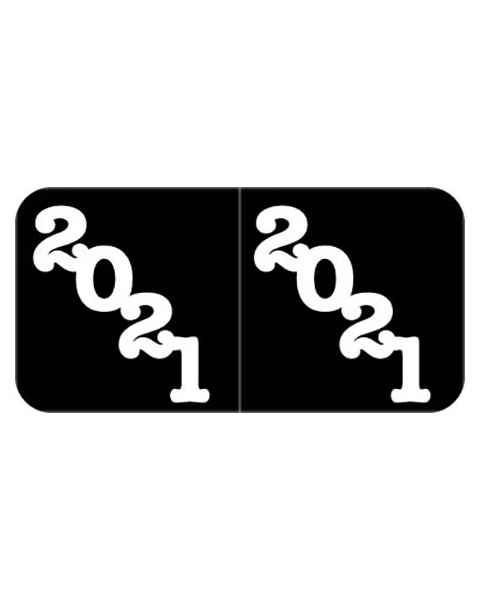 "2021 Year Labels - Jeter Compatible - Size 3/4"" H x 1 1/2"" W - Black Label"