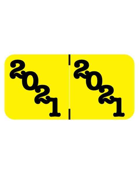 "2021 Year Labels - Jeter Compatible - Size 3/4"" H x 1 1/2"" W - Yellow Label"