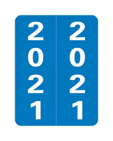 "2021 Year Labels - Smead Compatible - Size 2"" H x 1 1/2"" W"