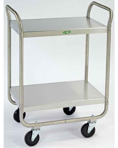 Lakeside Stainless Steel Tubular Utility Cart - 2 Shelves - Medium Duty 500 lbs Capacity