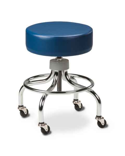 "Chrome Base Stool With Round Footring & 2"" Rubber Wheel Ball Bearing Casters"