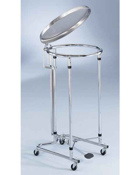 Blickman Chrome Tilt-Top Foot-Operated Round Hamper