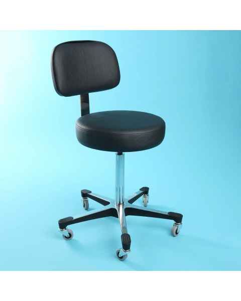 5-Leg Hand Operated Pneumatic Exam Stool With Back Rest