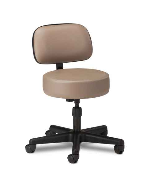 "Clinton 2130-21 5-Leg Spin Lift Stool With Backrest & 24"" Diameter Black Base"