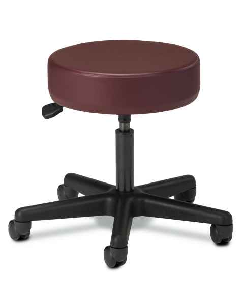"Clinton Model 2135 5-Leg Spin Lift Stool With Backrest & 24"" Diameter Black Base"
