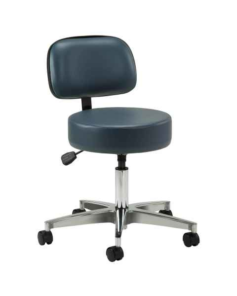 "Clinton Model 2155-21 5-Leg Pneumatic Stool With 23"" Cast Aluminum Base & Backrest"