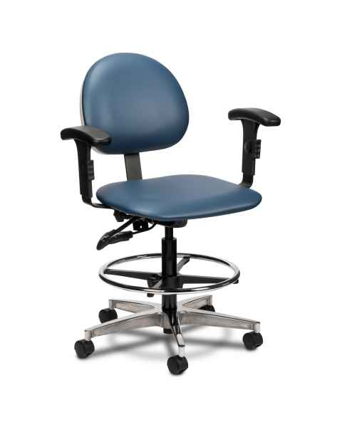 Clinton Model 2188W Lab Stool With Contour Seat, Backrest & Adjustable Padded Armrests