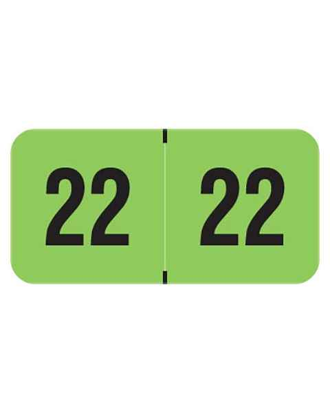 """2022 Year Labels - PMA Fluorescent Green - Size 3/4"""" H x 1 1/2"""" W"""