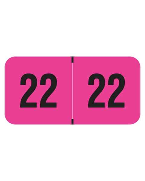 "2022 Year Labels - PMA Fluorescent Pink - Size 3/4"" H x 1 1/2"" W"