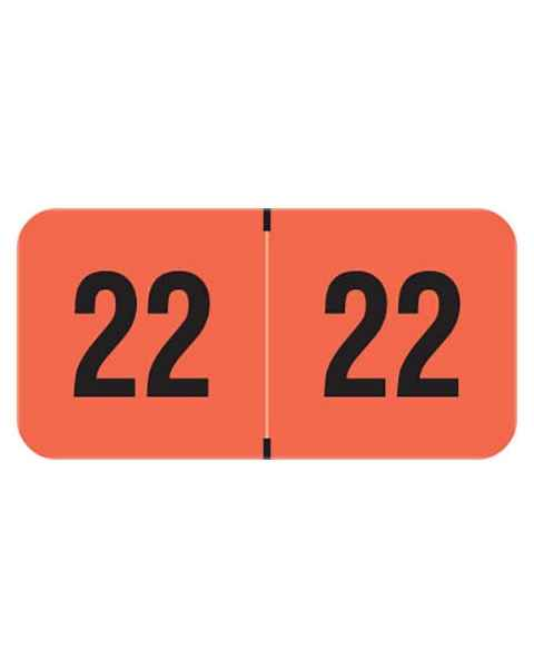 """2022 Year Labels - PMA Fluorescent Red - Size 3/4"""" H x 1 1/2"""" W"""