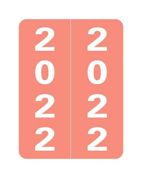 """2022 Year Labels - Smead Compatible - Size 2"""" H x 1 1/2"""" W"""
